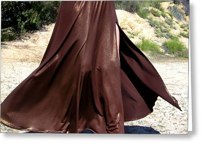 Brown Maxi Skirt With Slit. Ameynra Fashion Greeting Card by Sofia Metal Queen