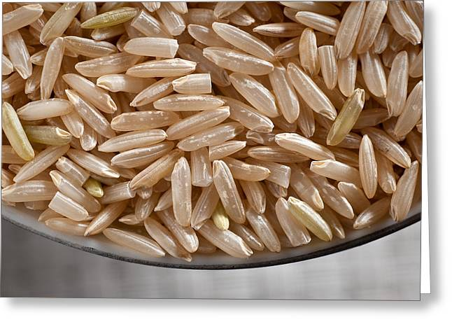 Brown Rice In Bowl Greeting Card