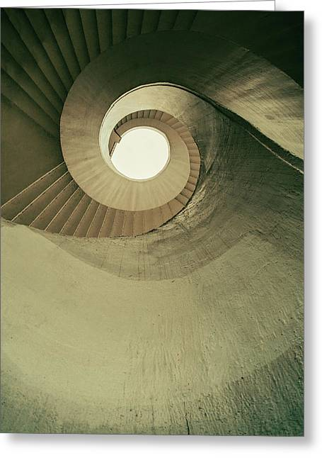 Greeting Card featuring the photograph Brown Spiral Stairs by Jaroslaw Blaminsky