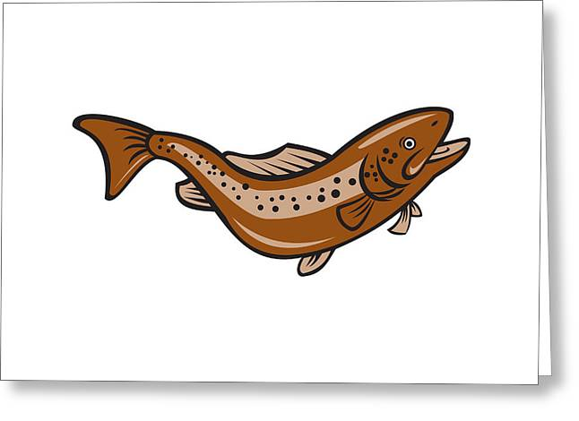 Brown Spotted Trout Jumping Cartoon Greeting Card by Aloysius Patrimonio
