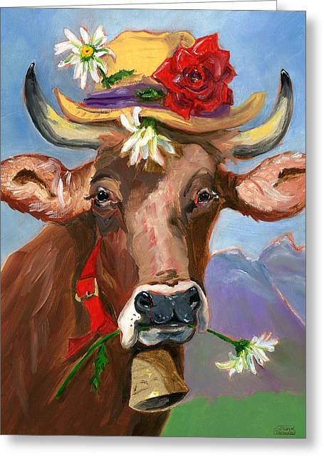 Brown Swiss In Summer Hat Greeting Card