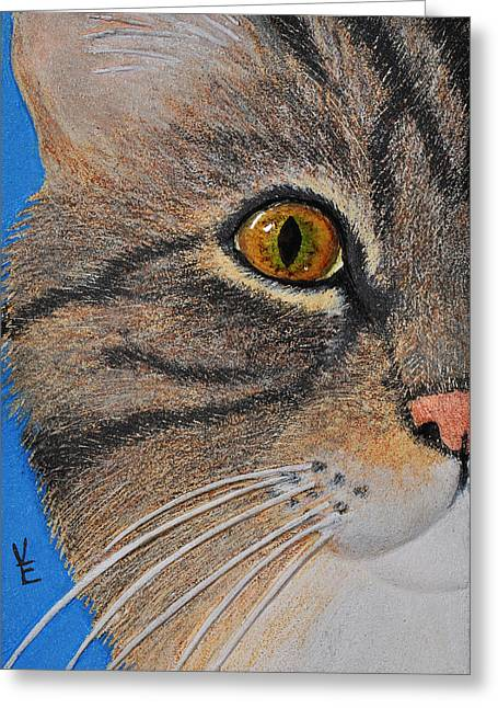 Brown Tabby Cat Sculpture Greeting Card by Valerie  Evanson
