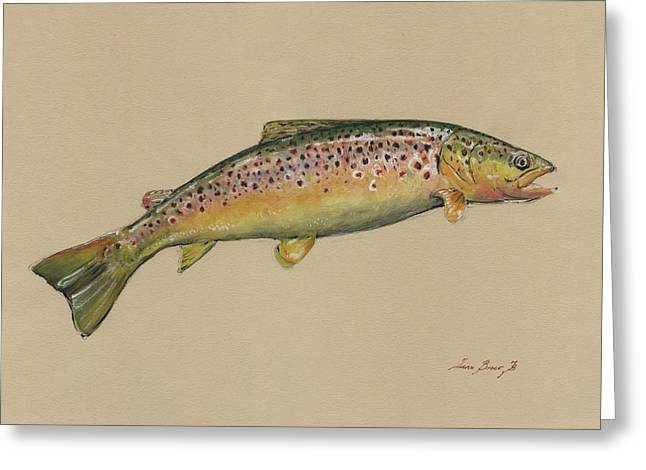 Brown Trout Jumping Greeting Card