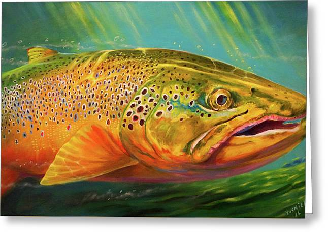Brown Trout Portrait  Greeting Card by Yusniel Santos