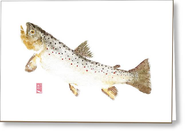 Brown Trout Rise #bt0003 Greeting Card by Kirby Wilson