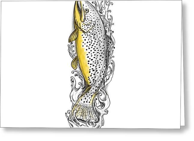 Brown Trout Swimming Up Tattoo Greeting Card