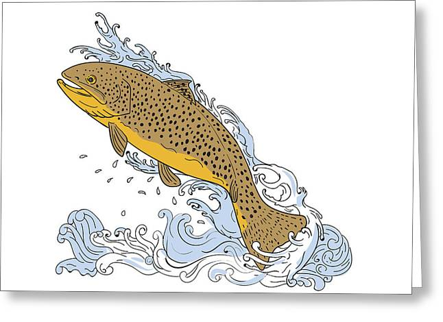 Brown Trout Swimming Up Turbulent Water Drawing Greeting Card