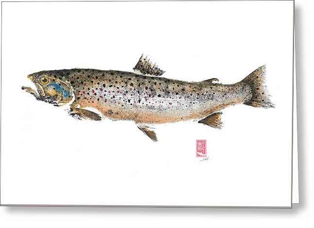Brown Trout Teuronjoki #bt0002 Greeting Card by Kirby Wilson