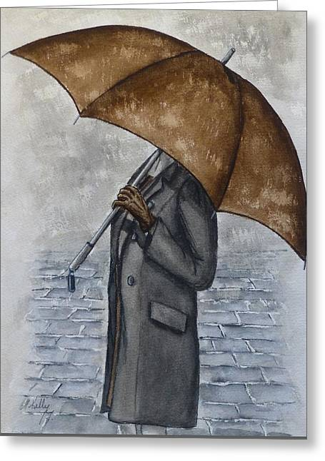 Brown Umbrella And Gloves Greeting Card by Kelly Mills