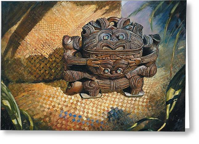 brown Wakahuia Greeting Card by Peter Jean Caley