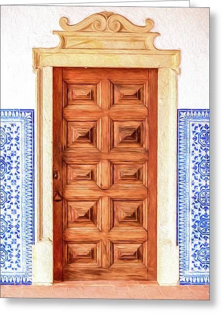 Brown Wood Door Of Old World Europe Greeting Card