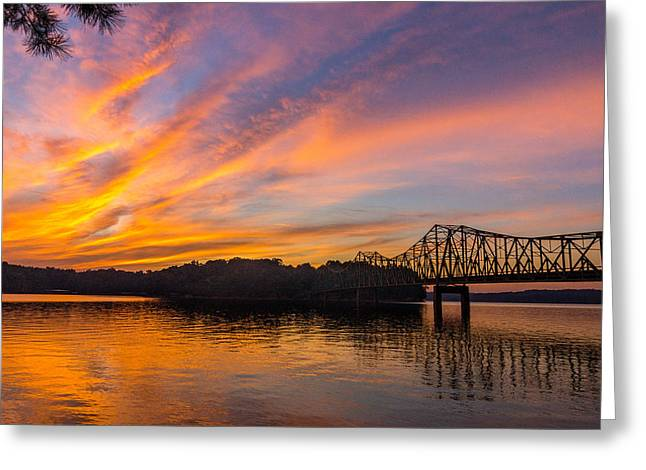 Browns Bridge Sunset Greeting Card by Michael Sussman