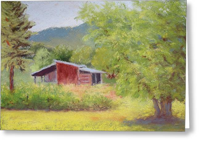 Greeting Card featuring the painting Brown's Shed by Nancy Jolley