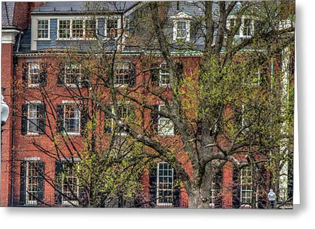 Greeting Card featuring the photograph Brownstone Panoramic - Beacon Street Boston by Joann Vitali