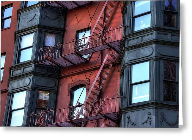 Brownstone With Iron Fire Escapes - Boston Greeting Card by Joann Vitali