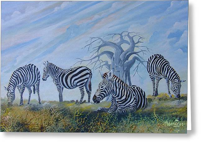 Greeting Card featuring the painting Browsing Zebras by Anthony Mwangi