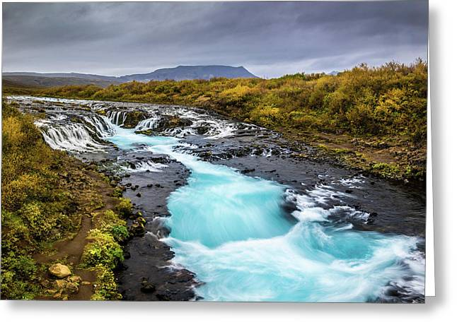 Greeting Card featuring the photograph Bruarfoss In The Gloom by Rikk Flohr
