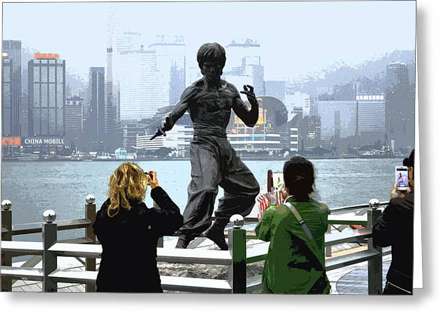 Bruce Lee And 3 Tourists Greeting Card by Manson Lee