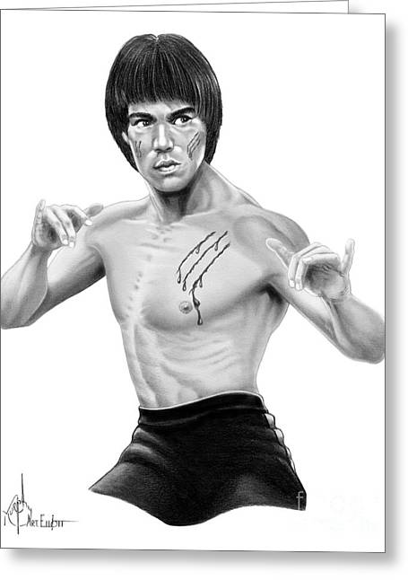 Bruce Lee Figure Greeting Card by Murphy Elliott