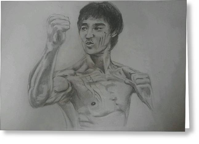 Bruce Lee Greeting Card by Heather Blickley