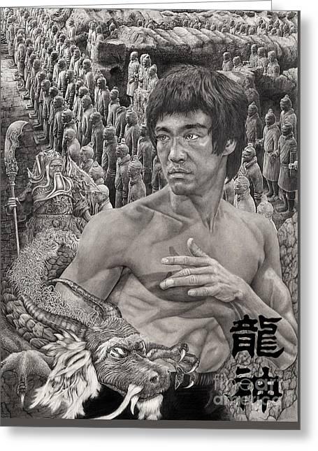 Bruce Lee Greeting Card by Jules Em