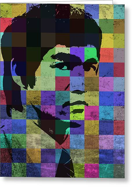 Bruce Lee Pop Art Portrait Iconic Colors Greeting Card by Design Turnpike