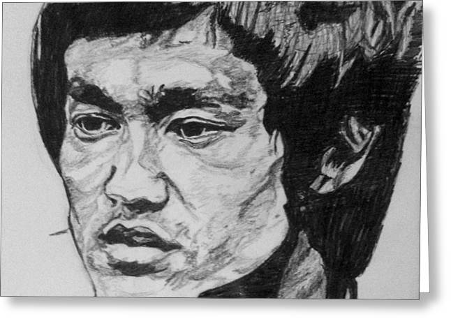 Bruce Lee Greeting Card by Rachel Natalie Rawlins