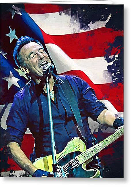 Bruce Springsteen Greeting Card by Afterdarkness