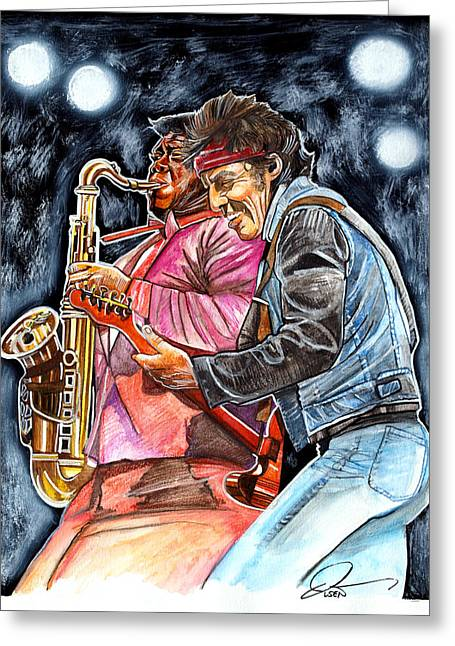 Bruce Springsteen And Clarence Clemons Greeting Card by Dave Olsen