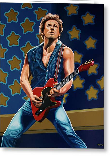 Bruce Springsteen The Boss Painting Greeting Card by Paul Meijering