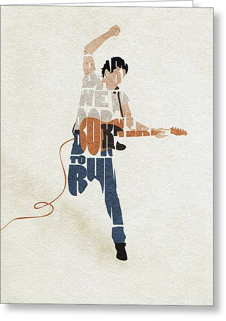 Bruce Springsteen Typography Art Greeting Card