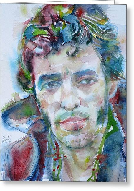 Bruce Springsteen - Watercolor Portrait.12 Greeting Card