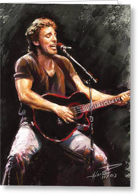 Musicians Pastels Greeting Cards - Bruce Springsteen  Greeting Card by Ylli Haruni