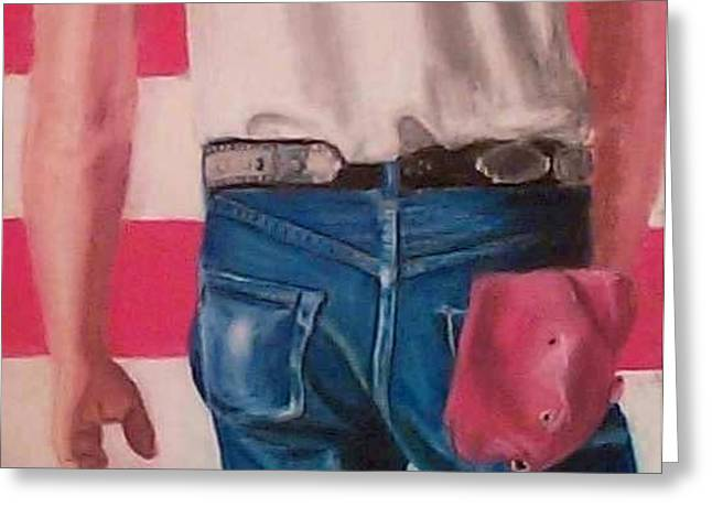 Bruce Springsteen's Butt Greeting Card by Linda Bryant
