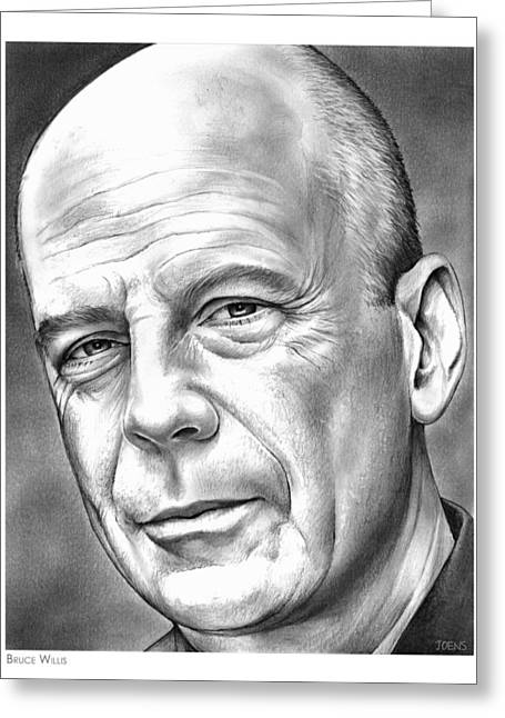 Bruce Willis Greeting Card by Greg Joens