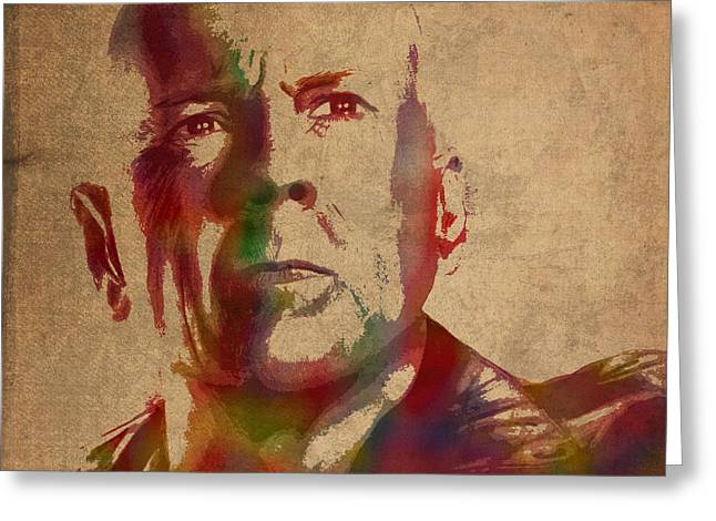 Bruce Willis Watercolor Portrait Hollywood Actor On Worn Distressed Canvas Greeting Card