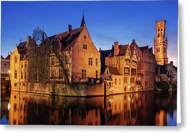 Bruges Architecture At Blue Hour Greeting Card
