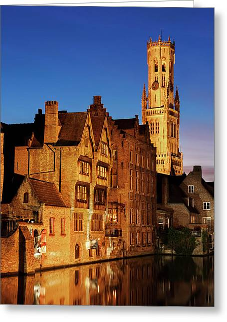 Bruges Belfry At Night Greeting Card