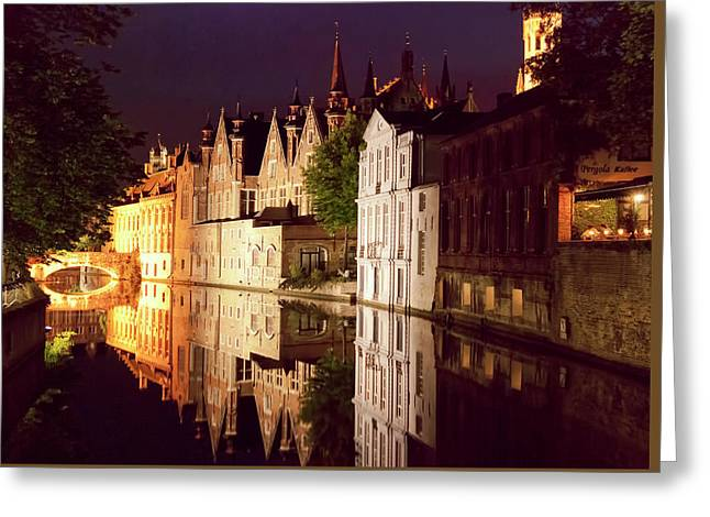 Bruges Canal Reflections At Night Greeting Card