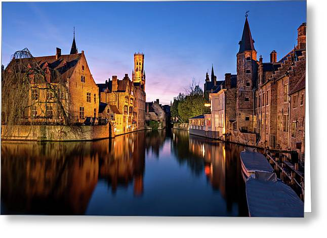 Bruges Canals At Blue Hour Greeting Card