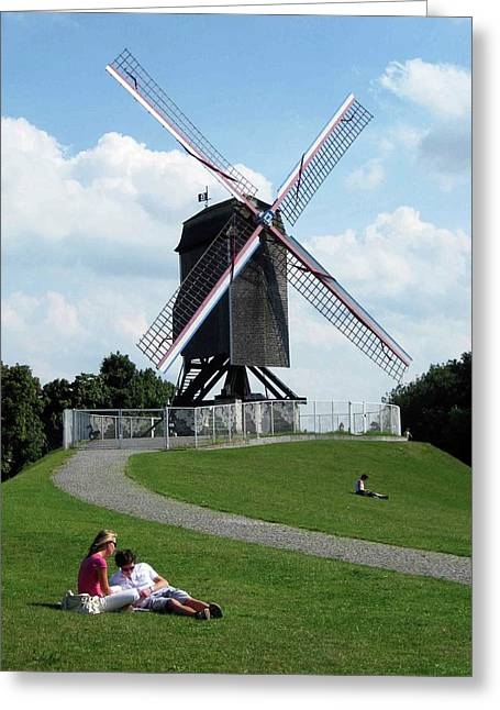 Bruges Windmill Greeting Card by David L Griffin
