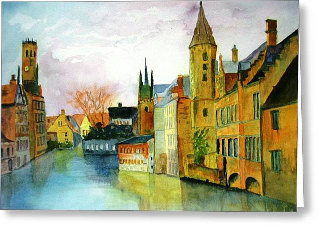 Brugge Belgium Canal Greeting Card by Larry Hamilton