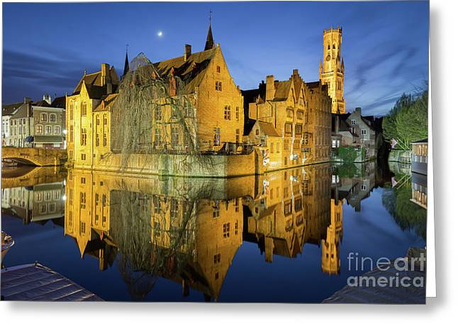 Brugge Twilight Greeting Card by JR Photography