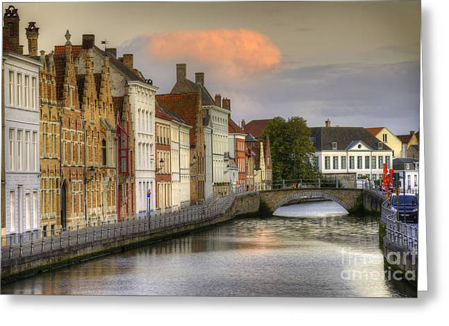 Brugges At Sunset Greeting Card by Juli Scalzi