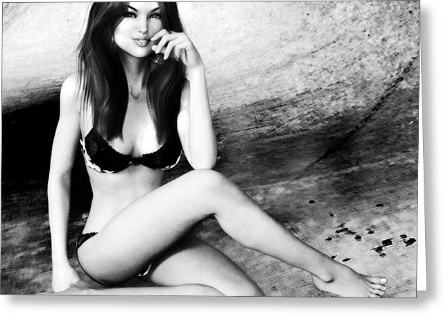 Brunette In Lingerie Black And White Greeting Card