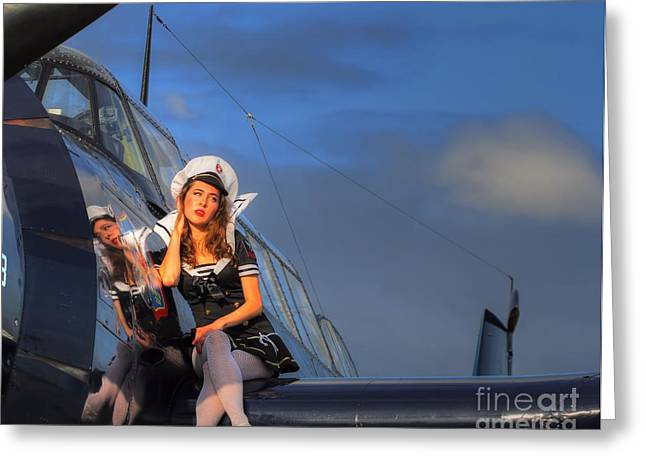 Brunette Navy Girl Greeting Card by Jimmy Ostgard