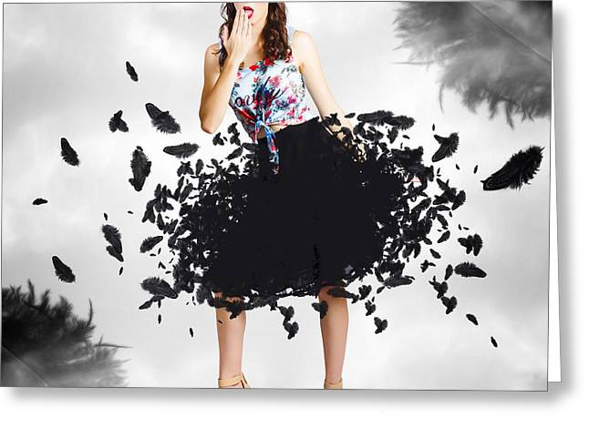 Brunette Pin-up Woman In Gorgeous Feather Skirt Greeting Card by Jorgo Photography - Wall Art Gallery