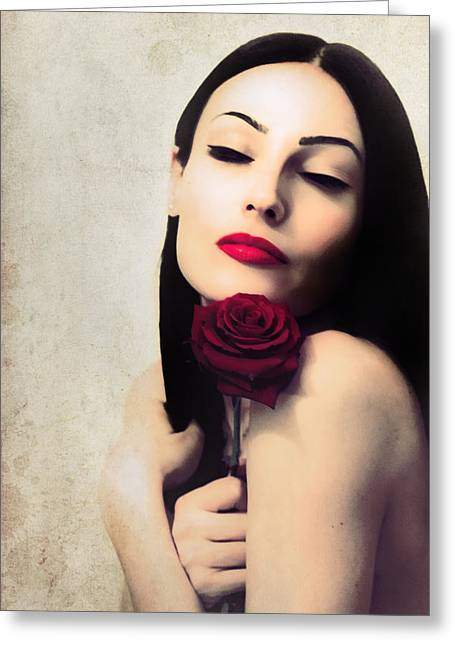 Brunette With Red Rose. Greeting Card by Anna Jonczyk