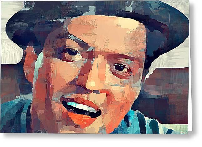 Bruno Mars Portrait Greeting Card by Yury Malkov