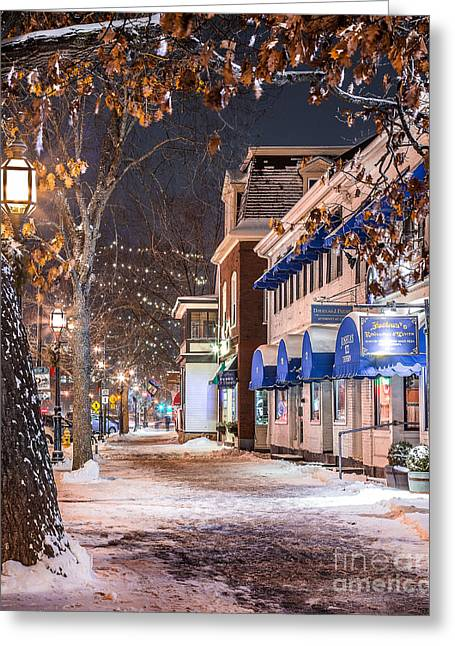Brunswick Maine Street Scene Greeting Card by Benjamin Williamson